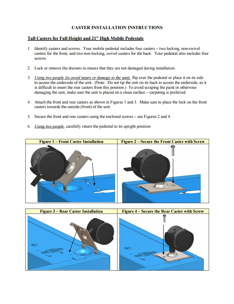Mobile Pedestal Files Caster Installation Instructions thumb