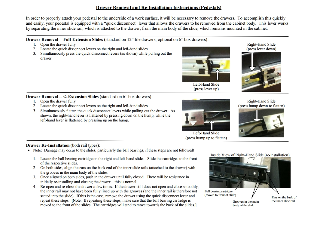 Pedestal Files Drawer Removal and Installation Instructions thumb